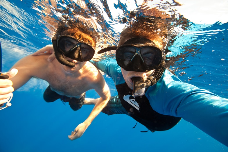 Alex and Tyler underwater